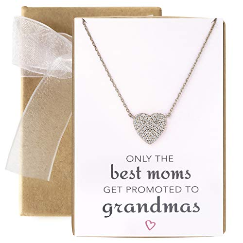 A+O Gift for Grandma - CZ Heart Pendant Necklace in Sterling Silver