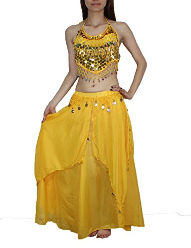[2 PCS SET: Womens Belly Dance Sheer Chiffon Cropped Top & Harem Pants 36A Yellow] (Belly Dance Costumes Custom)