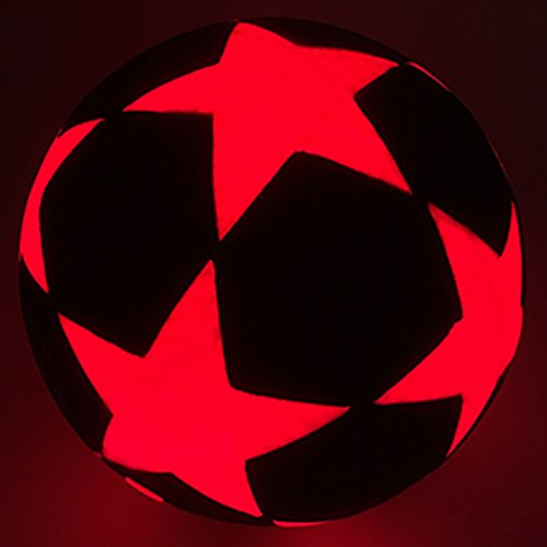 GlowCity LED Star Soccer Ball - Size 5 Glow-in-the-Dark Kick Ball - Uses 2 x Bright LEDs to Light Up a Fun Night Match - Impact Activated -