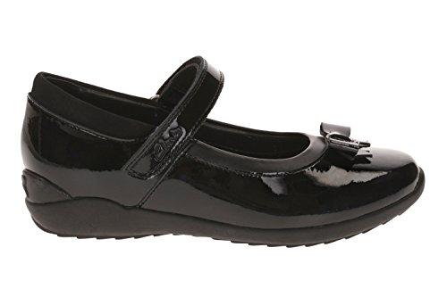 Clarks Ting-Fieber Girls Infant School Schuh in schwarzem Leder oder Patent schwarzer lack