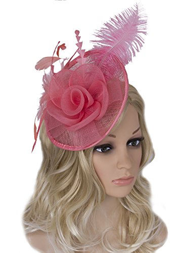 Vijiv Women Vintage Derby Fascinator Hat Pillbox Headband Feather Cocktail Tea Party,Watermelon Red,One Size (Womens Derby Fashion)