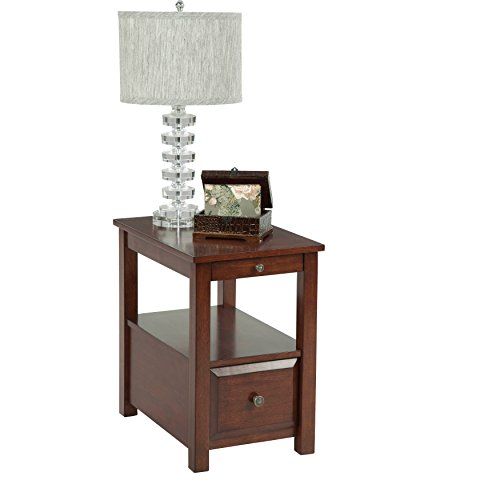 Medium Brown Birch Veneer Chairside Accent Side Table with Drawer and Shelf by Generic