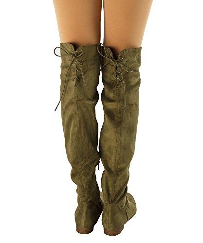 Paris Peach Natalia-01 Suede Zurück Lace Tie Up Over The Knee High Boots - exklusiv von Room of Fashion Olive