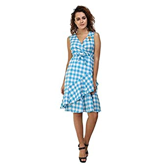 16446748c ZARKONS SKY BLUE FIT FLARE CHECK DRESS: Amazon.in: Clothing & Accessories
