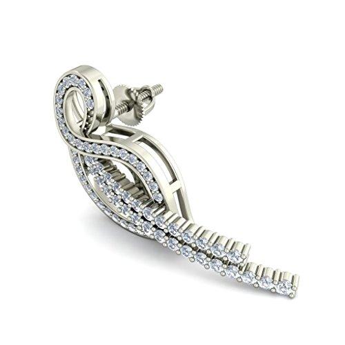 18K Or Blanc 1.07carat au total Round-cut-diamond (IJ | SI) Pendants d'oreilles