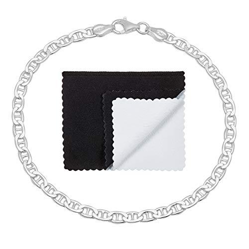 3.5mm 925 Sterling Silver Nickel-Free Flat Mariner Link Italian Bracelet, 8