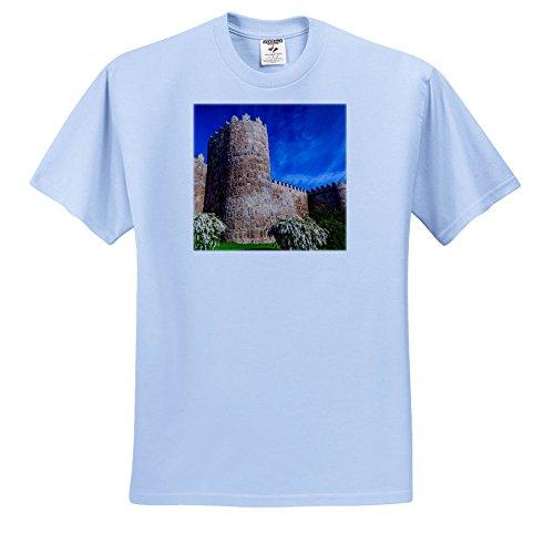 3 Castile Light (3dRose Danita Delimont - Architecture - Outer Walls surroud The City of Avila, Castile, Spain. - T-Shirts - Youth Light-Blue-T-Shirt XS(2-4) (ts_257892_59))