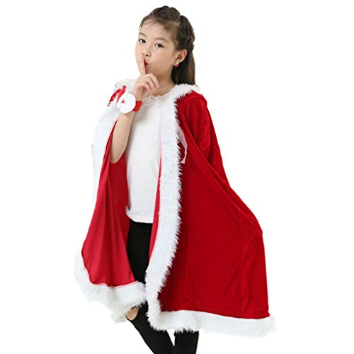 Cape Christmas Ornament - Women's Christmas Halloween Costumes Cloak Mrs. Santa Claus Cardigan Red Velvet Hooded Cape Xmas Party Costume Robe Wrap, 100cm/39.3