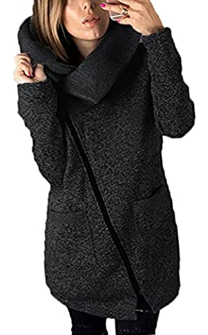 Hibluco Women's Fashion Side Zipper Long Jacket Trench Coat Outwear with Pockets (Small, Black) - Zipper Trench