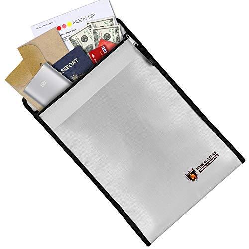 Ronxs Bolsa de documentos ignífuga, 38 x 28 cm, resistente al fuego, con estructura de doble capa ignífuga, resistente al...