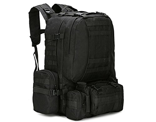 Teekland 55L Molle Outdoor Military Tactical Bag Camping Hiking Trekking Backpack(Black)