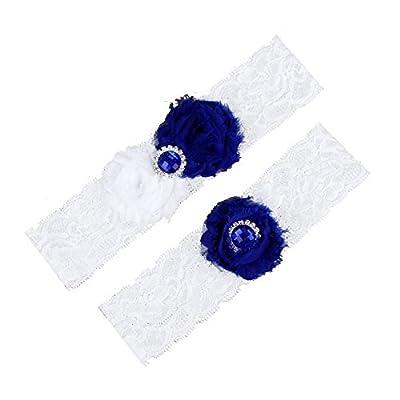 SanJL Wedding Garter Set,Classic Series, Lace Vintage White Bridal Gift
