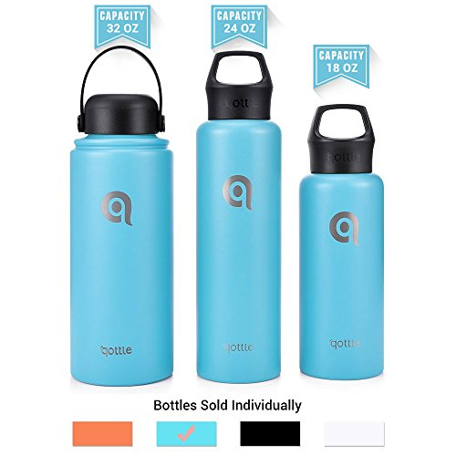 Thermal Vacuum Bottle - 32oz Stainless Steel Sports Water Bottle - hydro-Water qottle Thermal Wide Mouth Flask Thermos Hot and Cold Double Wall Vacuum Insulated Travel Mug-Tiffany Blue