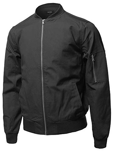 (Youstar Casual Basic Style Zip Up Sleeve Pocket Bomber Jacket Black Size L)