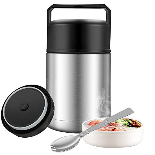 Insulated Food Jar,27oz Food Thermos with Folding Spoon and Handle,Thermos Lunch Jars for Hot Food Wide Mouth,Leak Proof Soup Thermos,Stainless Steel Vacuum Insulated Thermal Food Container Flask