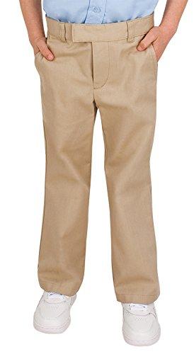 French Toast Uniforms Girls' Regular or Plus Size Flat Front Adjustable Waist Pant (Assorted Colors) (10 Slim, Khaki) (Slim Girls Flat Front)