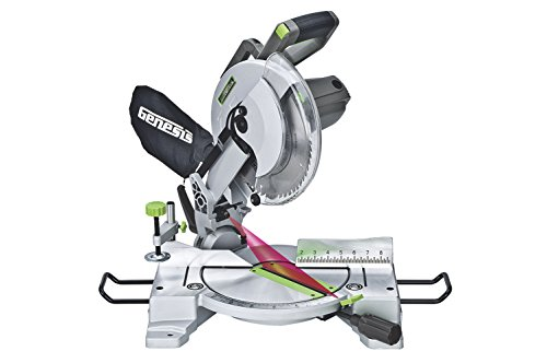Genesis GMS1015LC 15-Amp 10-Inch Compound Miter Saw with Laser Guide and 9 Positive Miter Stops Crown Molding 2 Light