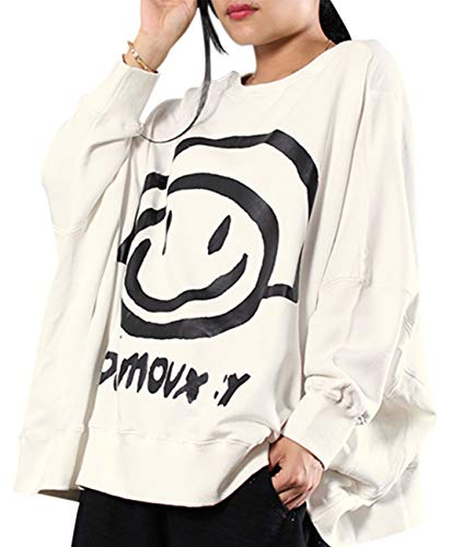 YESNO Women Casual Loose Sweatshirt Bat Wing Long Sleeve Cute Smiley Printed Crew Neck Pullover Tops WN6