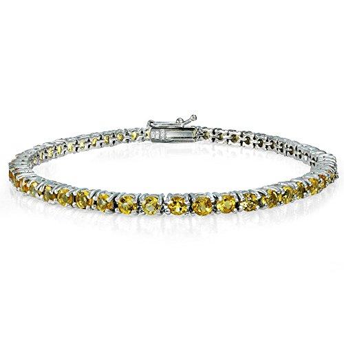 Ice Gems Sterling Silver Citrine 3mm Round Tennis Bracelet