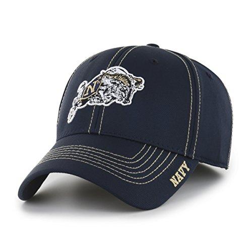 Navy Center (NCAA Midshipmen Adult Start Line Ots Center Stretch Fit Hat, Medium/Large, Navy)