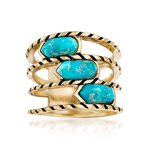 (Ross-Simons Turquoise Multi-Row Ring With Black Enamel in 18kt Yellow Gold Over Sterling)