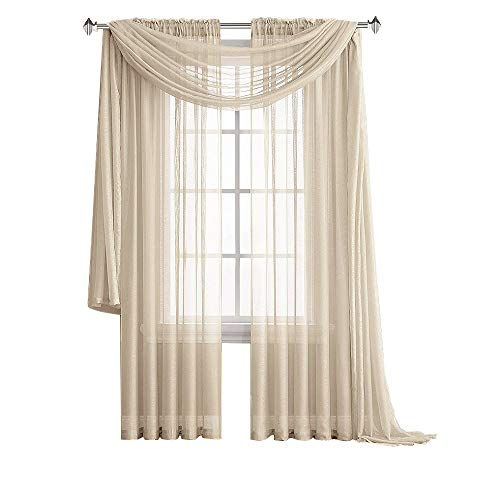 Warm Home Designs Pair of Premium Quality 54 x 84 Inch Sheer Beige Faux-Linen Rod Pocket Curtains. Total Width of These Affordable Drape Panels is 108