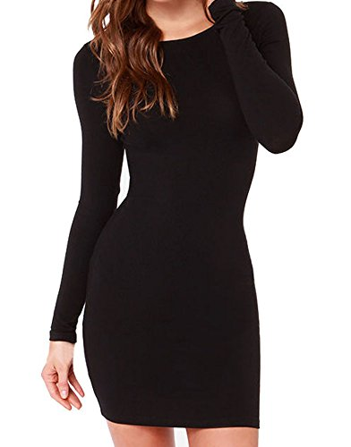 FACE N FACE Women's Knitting Sexy Casual Long Sleeve Short Dress Large Black