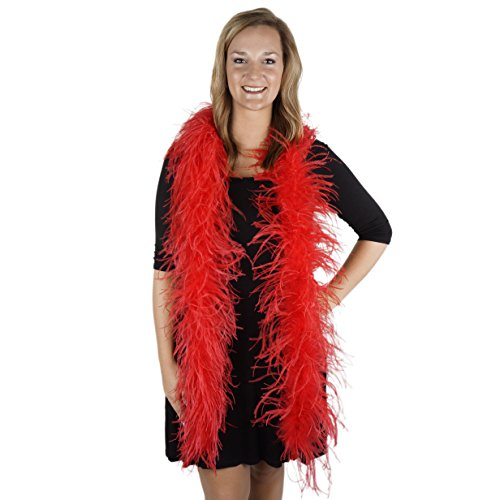 ZUCKER 6' Flapper Ostrich Boa - Red Feather Halloween Cosplay Costume Accessory -