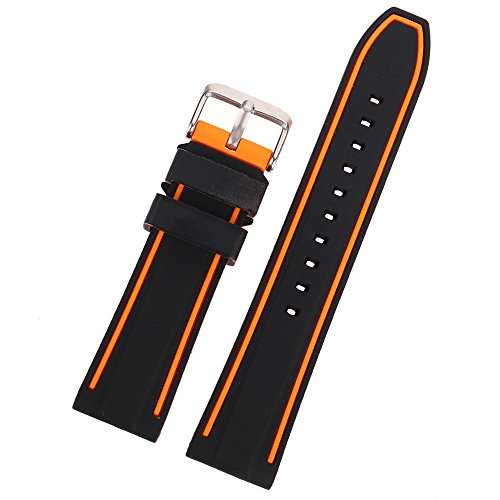 EACHE Silicone Watch Strap Rubber Replacement Diver Sport Waterproof Watch Band Black Orange Silver Buckle 20mm by EACHE (Image #4)