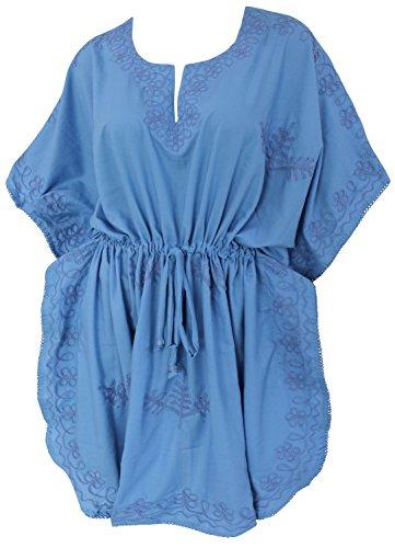 La Leela dames 5 en 1 rayonne Tunique brodée soirée décontractée robe détendue vinaigrette ajustement robe maillots bain couvrent loungewear courte caftan occasionnel nuit maternité bleu