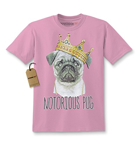 Price comparison product image Expression Tees Kids Notorious Pug T-Shirt Small Light Pink