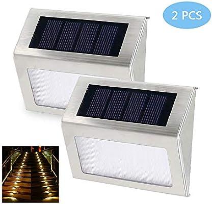 LABYSJ Ncluye 2 Nuevas escaleras LED para iluminación Exterior con Luces solares, iluminación inalámbrica de Acero Inoxidable Impermeable Acceso al Patio de la Pared de la Escalera: Amazon.es: Hogar