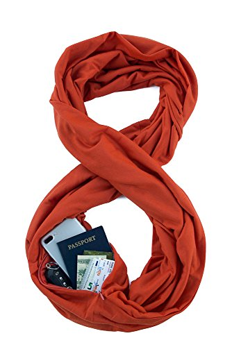 Womens Fashion Infinity Scarf - TRAVEL SCARF by WAYPOINT GOODS // Infinity Scarf with Hidden Pocket (Pumpkin)