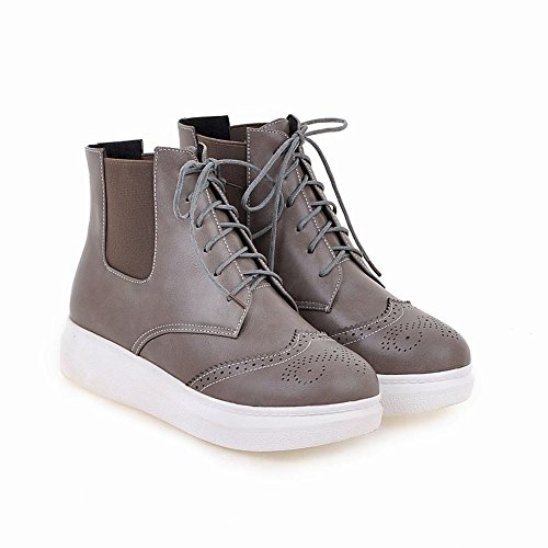 Carolbar Womens Lace Up Bungee Comfort Casual Retro Flats Short Boots Grey KofSIOdW