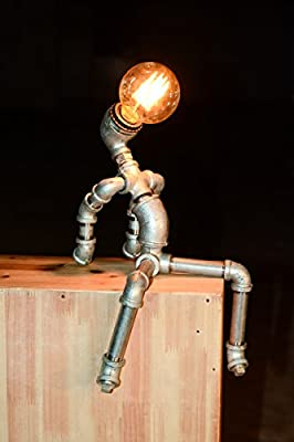 Designer Industrial Edison Vintage Style Beer Man Rustic Water Pipe Table Lamp Bedside