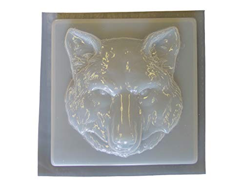 Wolf Head Stepping Stone Concrete Plaster Mold 1282