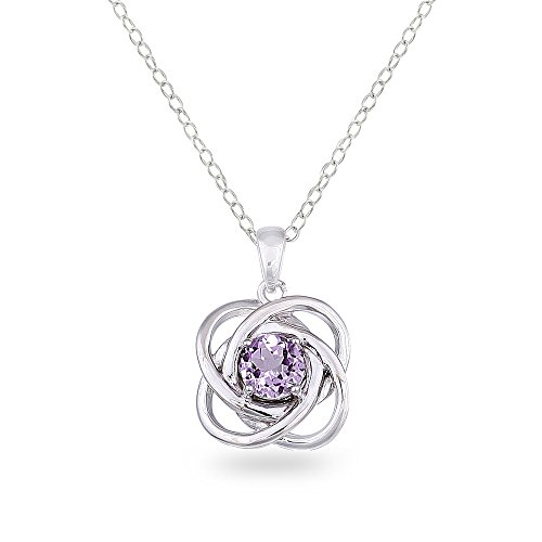 Sterling Silver Amethyst Polished Love Knot Pendant Necklace