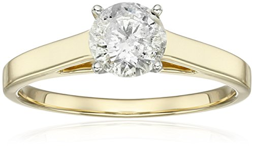 14k Yellow Gold Round Cathedral Solitaire Diamond Ring (1 cttw, H-I Color, I2-I3 Clarity), Size (14k Cathedral Solitaire)