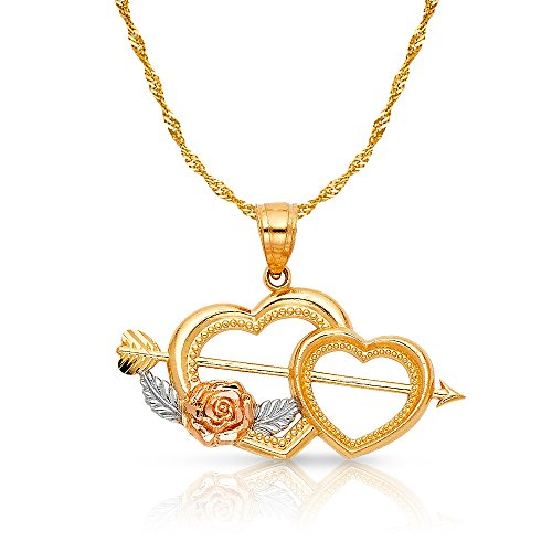 14K Two Tone Gold Double Heart With Cupid Arrow Charm Pendant with 1.2mm Singapore Chain Necklace - 16