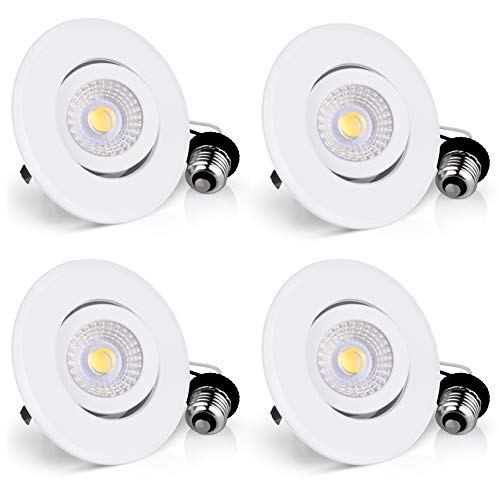 Hyperikon 4 Inch LED Recessed Lighting Dimmable, 65 Watt (10W), Rotatable Downlight, 4000k Daylight (4 Pack)