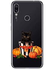 Oihxse Compatible con Samsung Galaxy A50 Funda Silicona Transparente Suave Gel TPU Carcasa Ultra-Delgado Patrón Protector Caso para Samsung A50 Cover Bumper (Gato)