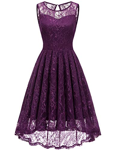 Gardenwed Women's Vintage Lace High Low Bridesmaid Dress Sleeveless Cocktail Party Swing Dress Grape 3XL