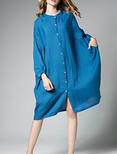 Chemise CHLXI Pour Manches Blue Longues en Coton Femmes vSqdSw