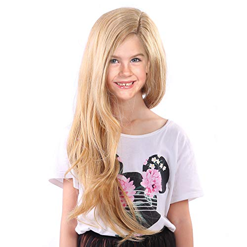 Tangled Rapunzel Wigs for Kids Girls Long Blonde Princess Children Wig