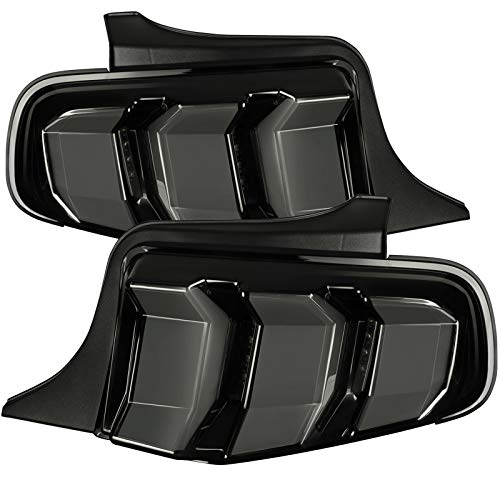 Carpartsinnovate For Ford 10-12 Mustang Glossy Black LED Sequential Signal Smoke Tail Brake Lights