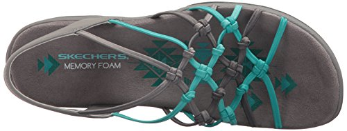 Skechers Women's Reggae Slim-Forget Knotted Web Gore Open Toe Slingback Sandal Grey/Turquoise cheap price wholesale bq8244Ak3