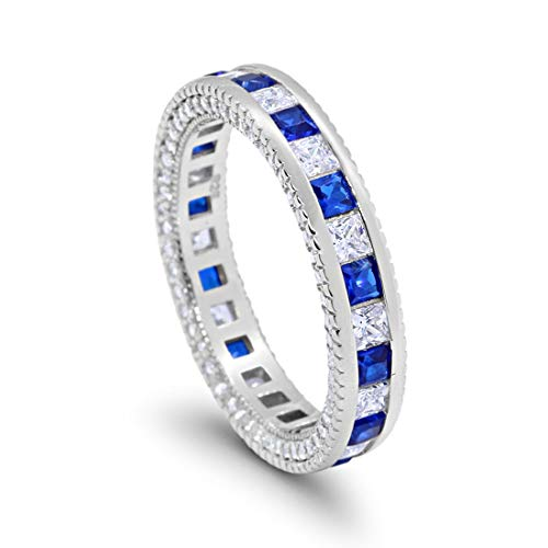 5mm Full Eternity Band Ring Alternating Princess Cut Simulated Blue Sapphire Round Cubic Zirconia Solid 925 Sterling Silver, Size-7 ()