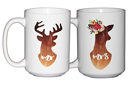 Mr Buck - Mrs Doe with Floral Headdress - Cute Watercolor Deer Coffee Mug Set - Wedding Anniversary Gift - Valentines Day from Wood, Glitter, Glass, and Sass