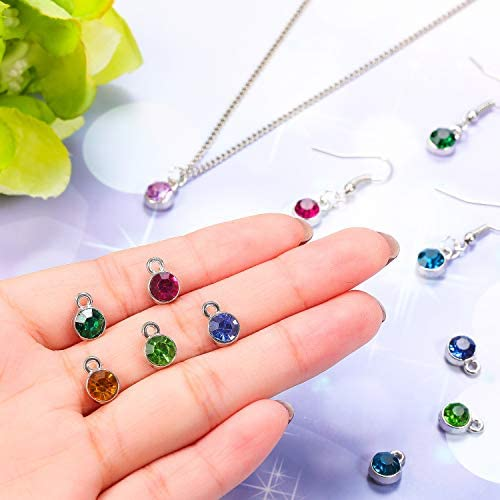 12 Colors 72 Pieces Crystal Birthstone Charms DIY Beads Pendant with Rings Handmade Round Crystal Charm for Jewelry Necklace Bracelet Earring Making Supplies 7 mm
