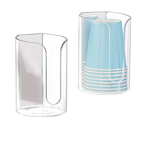 mDesign Modern Plastic Adhesive Compact Small Disposable Paper Cup Dispenser - Storage Holder for Rinsing Cups on Bathroom Vanity Countertops, 2 Pack - Clear/Polished